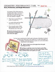 Geometry Performance Task for area/perimeter. In this task, students are asked to interpret a mapping scenario and distinguish appropriate types of measurement strategies. In order to do this e...