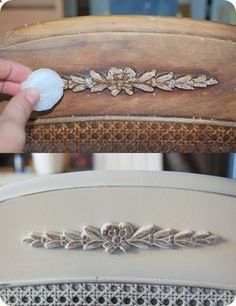 Use candle wax before spray painting to give that worn/shabby chic look....