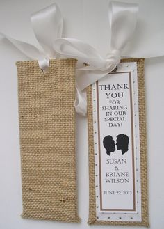 Burlap Save the Date/Wedding Bookmarkers  by MichelleWorldesigns