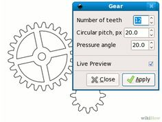 How to Draw Gears in Inkscape. Drawing uniform, symmetrical gears can be difficult, whether you do it by hand or on the computer. If you have Inkscape, though, it's much easier! Start with the gears effect included in Inkscape. Gear Drawing, Cnc Software, Gear Wheels, Mechanical Design, Nicu, Gears, 3d Printing, Lazer Cut, How To Apply