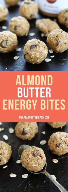 Easy No-Bake Almond Butter Energy Bites make a great healthy snack or breakfast on the go. They only take minutes to make and are made with ingredients you have in the pantry!