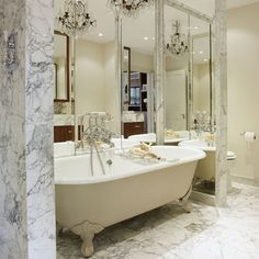 Create the Look with our Arabescato Marble combined with a free-standing, Victorian bath. Absolute classic appeal
