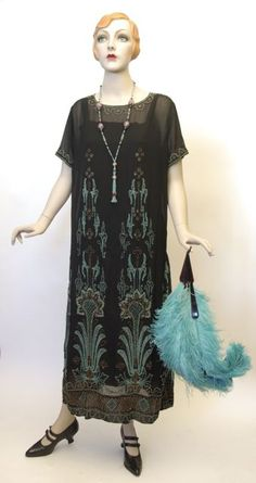 FC0397 Dress, silk, glass beads, unlabelled, c. 1923