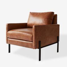 Best Cognac Bi Cast Leather Huxley Chair World Market Brown 400 x 300
