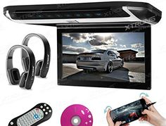 """XTRONS 10"""" HD Digital TFT Monitor Car Roof Flip Down Overhead DVD Player Touch Panel Game Disc HDMI Port Black IR Headphones Included 