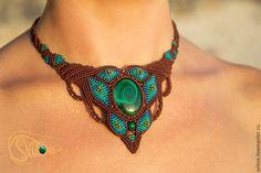 Купить Колье Индира - морская волна, коричневый, зеленый, малахит, бирюзовый, колье, этно, индира