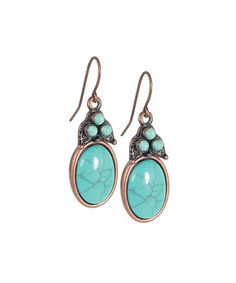 Take a look at this Silver & Turquoise Oval Drop Earrings by LOLO by New Dimensions on #zulily today!