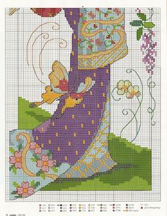 Oriental Geisha cross-stitch chart - lower half