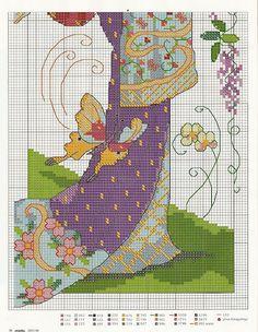 Oriental Geisha cross-stitch chart - lower half