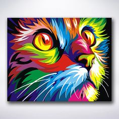 Rainbow Animals Paint By Number Kit/ DIY Digital Oil Painting on Canvas/Deer Tiger Elephant Lion Cat Wolf/Acrylic Painting/ Rainbow painting Simple Oil Painting, Oil Painting On Canvas, Diy Painting, Canvas Paintings, Painting Trees, Painting Classes, Painting Process, Colorful Animals, Easy Animals