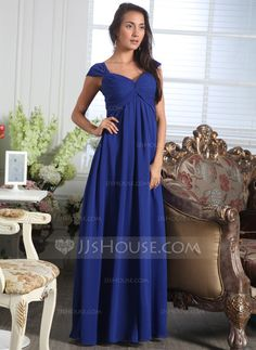 A-Line/Princess Sweetheart Floor-Length Ruffle Zipper Up Cap Straps Sleeveless No Royal Blue Fall General Plus Chiffon Bridesmaid Dress