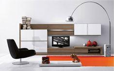 TV Wohnwand weiß in Hochglanz aus Holz