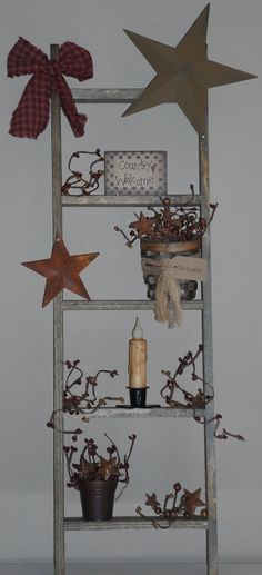 Primitive S Specializes In Home Decor Including This Country Decoration Rustic Star Ladder And Woven Welcome Basket