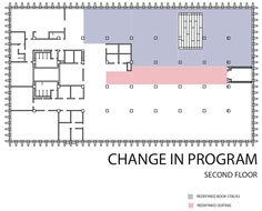 Hunt Library Addition: Diagram of Change in Program (second floor) #kerrianfrance #48105-S15