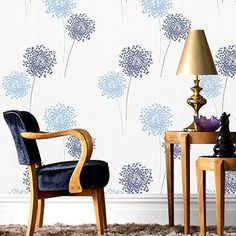 Praxis vliesbehang blauwe bloemen