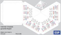 Template spanish calendar 2016 pyramid shaped Royalty Free Stock Photography
