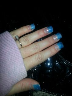 Blue Sparkle nails. UV gel. Sparkle Nails, Blue Sparkles, Uv Gel, Sparkly Nails, Shiny Nails