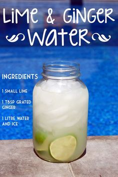 """Get hydrated and healthy with this delicious and cleansing """"Lime & Ginger Water"""". - Get hydrated and healthy with this delicious and cleansing """"Lime & Ginger Water"""" linkreaction. Infused Water Recipes, Fruit Infused Water, Fruit Water, Ginger Ale, Ginger Juice, Fresh Ginger, Detox Drinks, Healthy Drinks, Healthy Water"""
