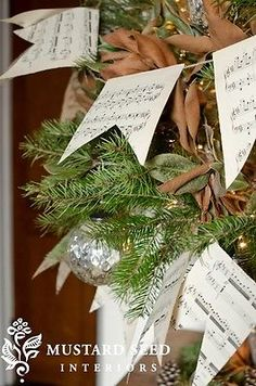 holiday bunting out of antique sheet music | miss mustard seed