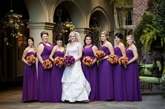 Purple Bridesmaid Dresses    A rich purple, accented with contrasting flowers, perfectly fits the season.