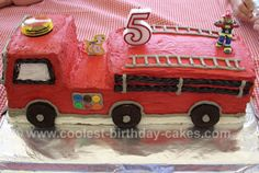 Two sheet cakes into firetruck (or other kind of truck/car) cake!