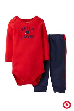 Your heart isn't the only one that flutters every time your baby smiles. Give a nod to some of his favorite friends with this comfy bodysuit and pull-on pants combo from Just One You made by Carter's. It's a perfect Valentine's Day outfit for your cutie.