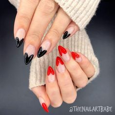 Valentines Day Heart Nails Black and red heart design stiletto nailsYou can find Heart nails and more on our website.Valentines Day Heart Nails Black and red heart design stile. Manicure Nail Designs, Heart Nail Designs, Nail Art Designs Images, Valentine's Day Nail Designs, Simple Nail Art Designs, Nail Manicure, Toe Nails, Nails Design, Stiletto Nails