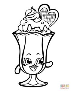 Suzie Sundae Printable shopkins season 3 coloring pages printable and coloring book to print for free. Find more coloring pages online for kids and adults of Suzie Sundae Printable shopkins season 3 coloring pages to print. Shopkins Coloring Pages Free Printable, Shopkin Coloring Pages, Cute Coloring Pages, Cartoon Coloring Pages, Animal Coloring Pages, Coloring Pages To Print, Coloring Sheets, Coloring Pages For Kids, Coloring Books