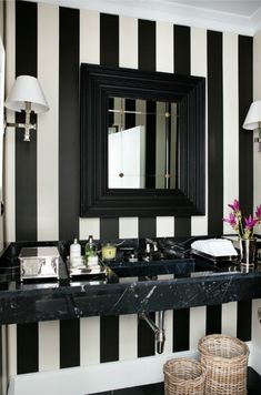 Black and white stripe wallpaper with black marble bathroom vanity ♥ glam