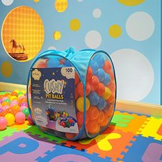 "Envius Cushy Pit Balls - Prince 100 : ""Phthalates Free"" 100 Count 6.5 Cm W/Blue Mesh Tote Bag : 6 Colors (16 Red, 16 Orange, 16 Yellow, 16 Green, 16 Purple, 20 Blue), 2015 Amazon Top Rated Ball Pits & Accessories #Toy"