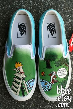 a9a6635816 These shoes were a custom order for Lesley in Vancouver. She requested a  Calvin and Hobbes comic theme. Hobbs is saying