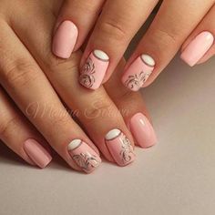 Rose nails with white and silver glitter accents Popular Ladies Pink Gold Nails, Rose Nails, Fancy Nails, Beautiful Nail Art, Gorgeous Nails, Pretty Nails, Nail Art Designs, Nails Only, Creative Nails