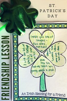 St. Patrick's Day classroom guidance lesson for elementary school counseling: students create an Irish blessing for a friend!