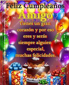 Amigo ┌iiiii┐Felíz Cumpleaños┌iiiii┐ Happy Birthday Greetings, Birthday Wishes, Birthday Parties, Birthday Images, Birthday Quotes, Spanish Birthday Cards, Healthy Relationships, Margarita, Birthdays