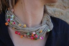 Items similar to Necklace Nacre Rainbow Multicolor Natural Linen Thread Knots Pink Blue Violet Purple Green Natural Handmade Mediterranean style on Etsy Textile Jewelry, Fabric Jewelry, Beaded Jewelry, Jewellery, Handmade Necklaces, Handcrafted Jewelry, Fabric Necklace, Bijoux Diy, Leather Necklace