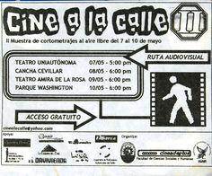 Flyer de la segunda versión de Cine a la Calle, 2002