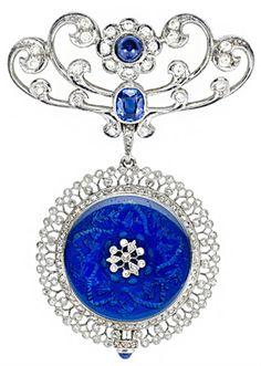 Edwardian Diamond, Sapphire and Blue Enamel Pendant Watch Pin