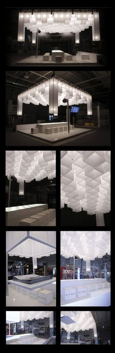 Exhibition design; Lighting design with large cubes; Krit Stand by IDEA