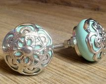 SET OF 2 -  Mint Green Ceramic Knob with Silver Filigree Overlay - Seamist Seafoam Blue Drawer Pull - Shabby Chic Home Decor - Beach Theme