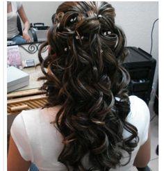 Half Up Curled Wedding Hair.  Visit us at www.ramadatropics.com