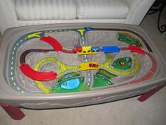 This awesome train table actually works with Hot Wheels cars and my toddler loves it!
