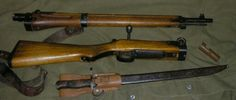 In order to allow paratroopers to keep their rifles with them, a rifle was developed that could be taken apart into 2 parts, which could be carried in a pouch during the jump. The Japanese experimented with several versions of paratrooper rifles, including ones with folding stocks and an interrupted thread-style take-down before settling on this one, which has a screw-in wedge that holds the two halves together.