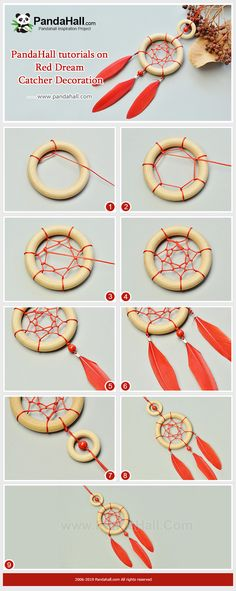 Tutorial on Making a Red Dream Catcher Decoration accessories necklace diy jewelry Red Dream Catcher Decoration Dream Catcher Jewelry, Dream Catcher Decor, Dream Catcher Boho, Dream Catcher For Kids, Making Dream Catchers, Diy Home Crafts, Yarn Crafts, Homemade Dream Catchers, Diy Dream Catcher Tutorial