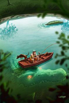 Vacation by Rubens Gomes Dark Fantasy Art, Dark Art, Fantasy Creatures, Mythical Creatures, Sea Creatures, Monster Art, Arte Horror, Horror Art, Arte Obscura