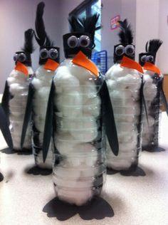 Water bottles, cotton balls, eyes, felt or foam sheets. Penguins.