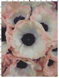 Apricot Anemones Garden Flower Cross Stitch Pattern Design Chart PDF Digital File Instant Download by theelegantstitchery on Etsy
