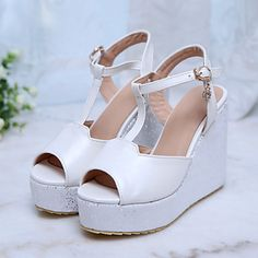Women's Shoes Wedge Heel Wedges Sandals Casual Blue/Pink/White – USD $ 33.15