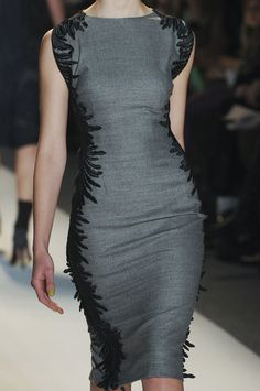 Lela Rose Fall 2013 grey and black pencil dress
