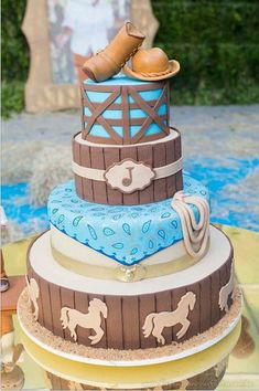 25 Ideas For Baby Shower Boy Cake Country Cowboy Theme Western Birthday Cakes, Country Birthday Party, Western Cakes, Horse Birthday Parties, Cowboy Birthday Party, Birthday Ideas, Cowboy Baby Shower, Baby Boy Shower, Anniversaire Cow-boy