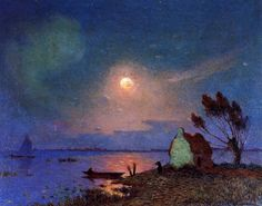 Pont-Aven in the Moonlight by Ferdinand du Puigaudeau (1864-1930) French Impressionist Painter  http://www.artsheaven.com/ferdinand-du-puigaudeau-pont-aven-in-the-moonlight.html